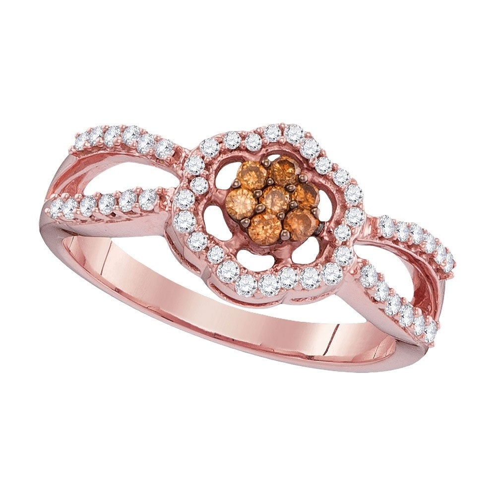 10kt Rose Gold Womens Round Cognac Brown Color Enhanced Diamond Cluster Ring 1/3 Cttw – Ring Size 7 Pertaining To Most Up To Date Enhanced Cognac Diamond Vintage Style Anniversary Bands In Rose Gold (View 5 of 25)