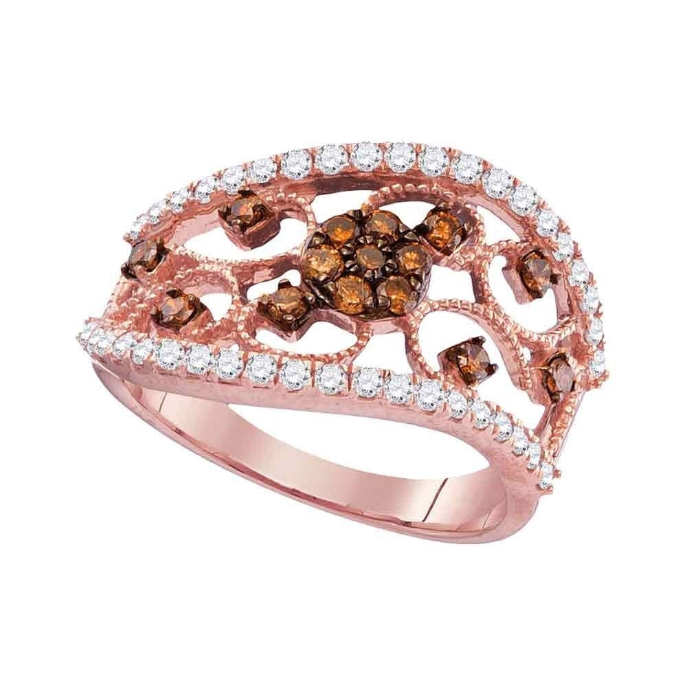 Featured Photo of Enhanced Cognac Diamond Vintage Style Anniversary Bands In Rose Gold