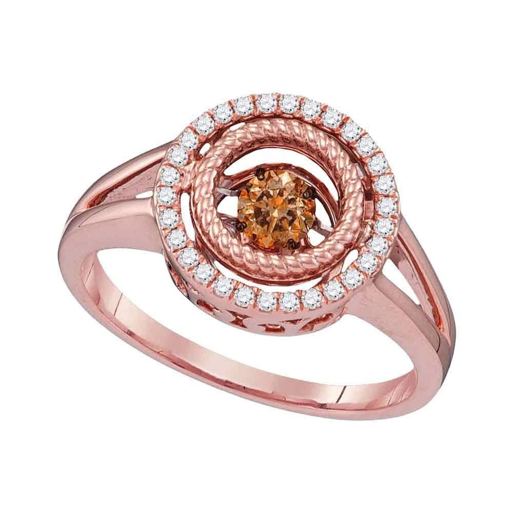 10kt Rose Gold Womens Round Cognac Brown Color Enhanced Diamond Moving Twinkle Ring 3/8 Cttw – Ring Size 7 Within Most Current Enhanced Cognac Diamond Vintage Style Anniversary Bands In Rose Gold (View 13 of 25)