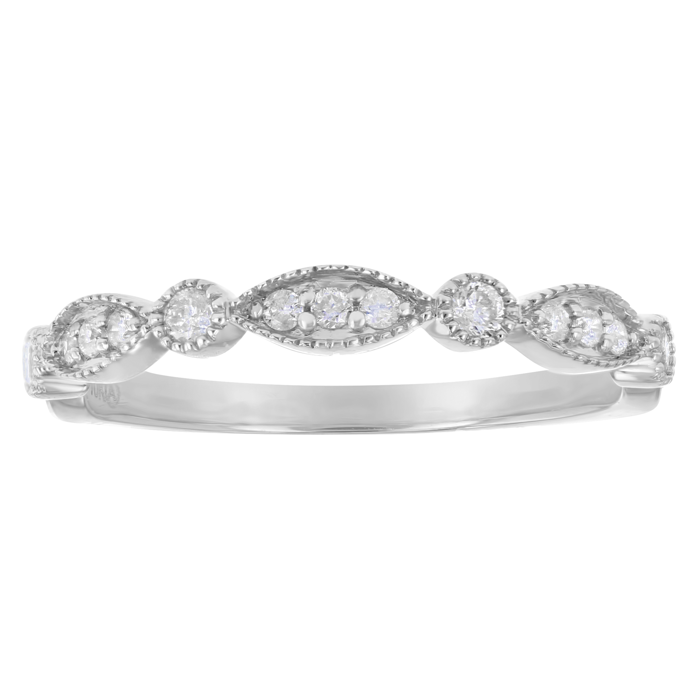 10kt White Gold 1/5ct Diamonds Vintage Inspired Art Deco Anniversary Wedding Band Ring Regarding Most Up To Date Diamond Art Deco Inspired Anniversary Bands In White Gold (View 9 of 25)