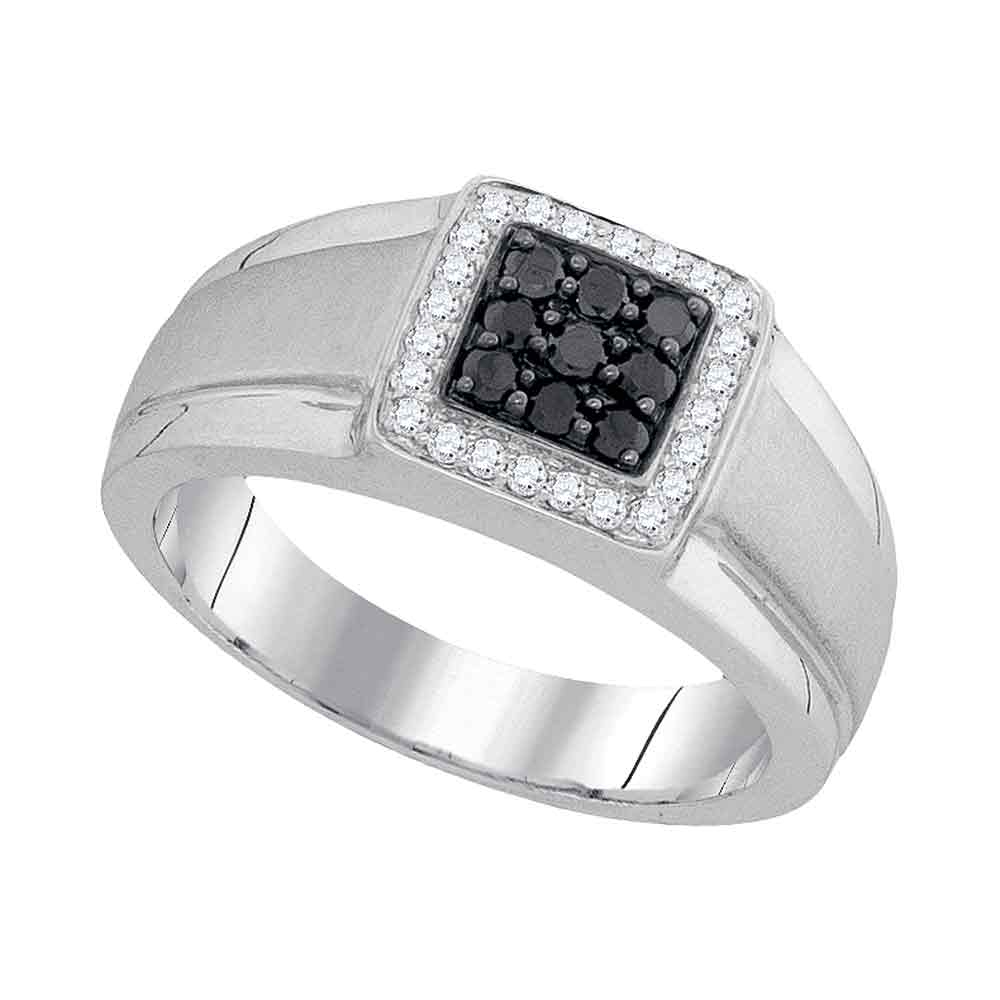 10kt White Gold Mens Round Black Color Enhanced Diamond Square Cluster Ring 3/8 Cttw Intended For Recent Enhanced Black And White Diamond Anniversary Ring In White Gold (View 8 of 25)