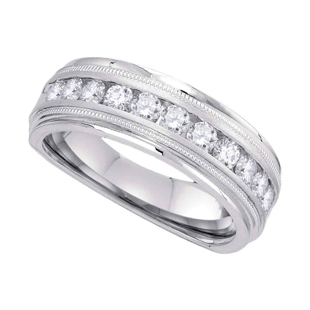 10Kt White Gold Mens Round Channel Set Diamond Milgrain Edge Wedding Band  Ring 1/2 Cttw In Most Recently Released Diamond Milgrain Anniversary Bands In White Gold (View 1 of 25)