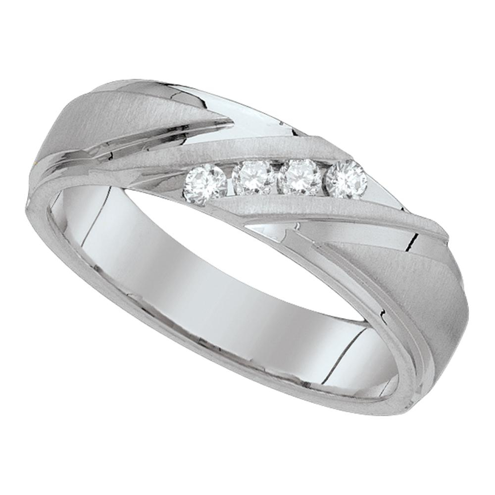 10Kt White Gold Mens Round Channel Set Diamond Wedding Anniversary Band  Ring 1/4 Pertaining To Best And Newest Diamond Channel Set Anniversary Bands In Gold (View 4 of 25)