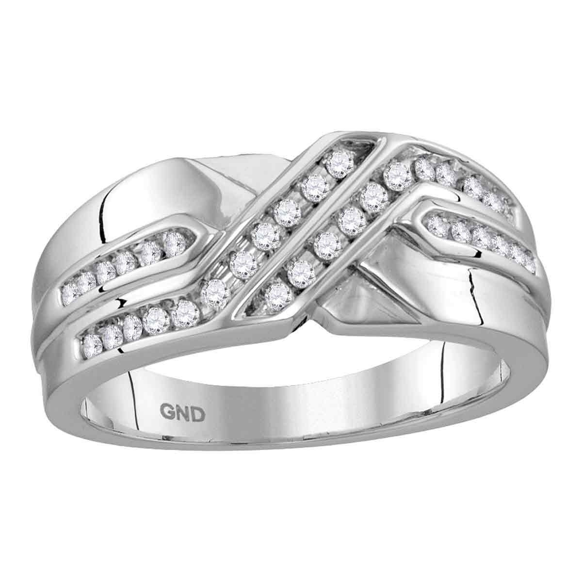 10kt White Gold Mens Round Diamond Two Row Wedding Anniversary Band Ring 1/4 Cttw – Ring Size 7 Within Most Current Diamond Two Row Anniversary Bands In White Gold (View 7 of 25)