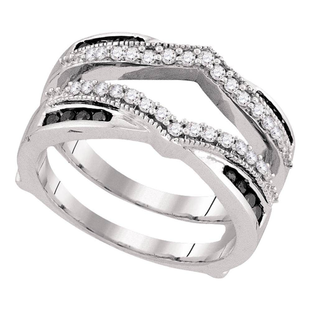 10kt White Gold Womens Round Black Color Enhanced Diamond For Best And Newest Enhanced Black And White Diamond Anniversary Ring In White Gold (View 15 of 25)