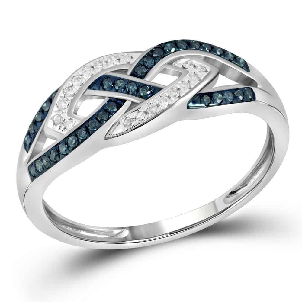 10kt White Gold Womens Round Blue Color Enhanced Diamond Crossover Band Ring 1/6 Cttw Pertaining To Most Popular Enhanced Blue And White Diamond Anniversary Bands In White Gold (View 14 of 25)