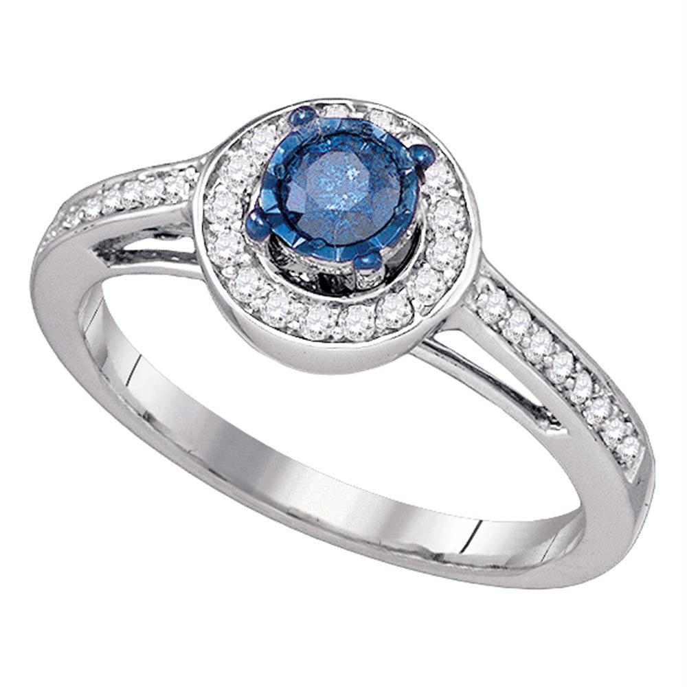 10kt White Gold Womens Round Blue Color Enhanced Diamond With Most Current Enhanced Blue And White Diamond Anniversary Bands In White Gold (View 12 of 25)