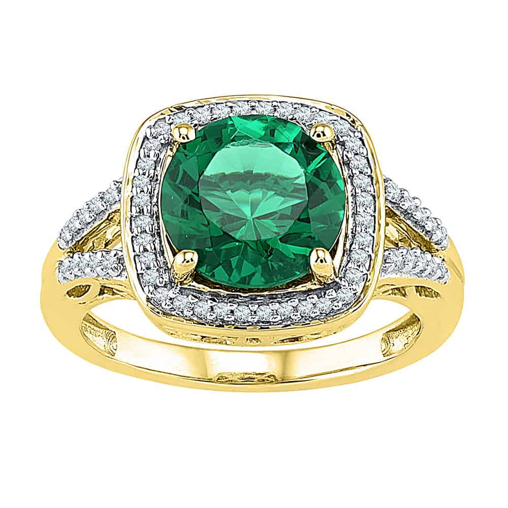 10Kt Yellow Gold Womens Round Lab Created Emerald Solitaire Square Diamond  Frame Ring 4 1/6 Cttw Intended For 2019 Diamond Frame Anniversary Bands In Gold (View 1 of 25)