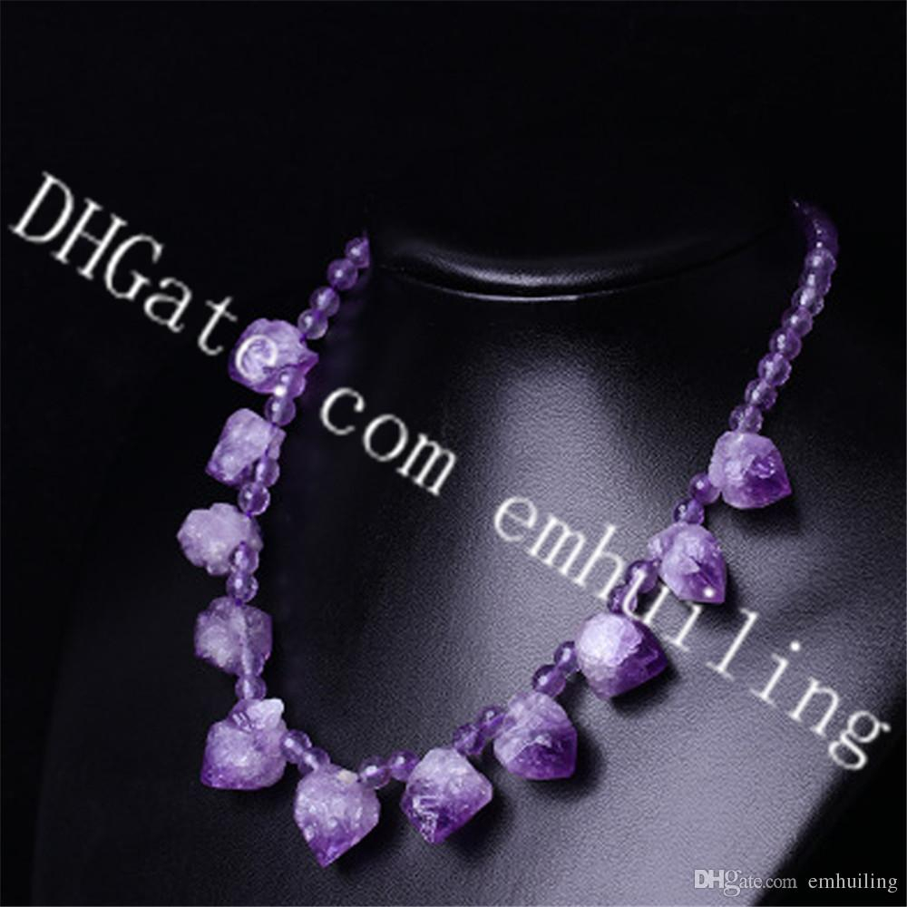 10Pcs Natural Freeform Raw Amethyst Point Stone Necklace With 6Mm Faceted  Amethyst Crystal Beads February Birthstone Choker Necklace Jewelry Intended For Newest Purple February Birthstone Locket Element Necklaces (View 1 of 25)