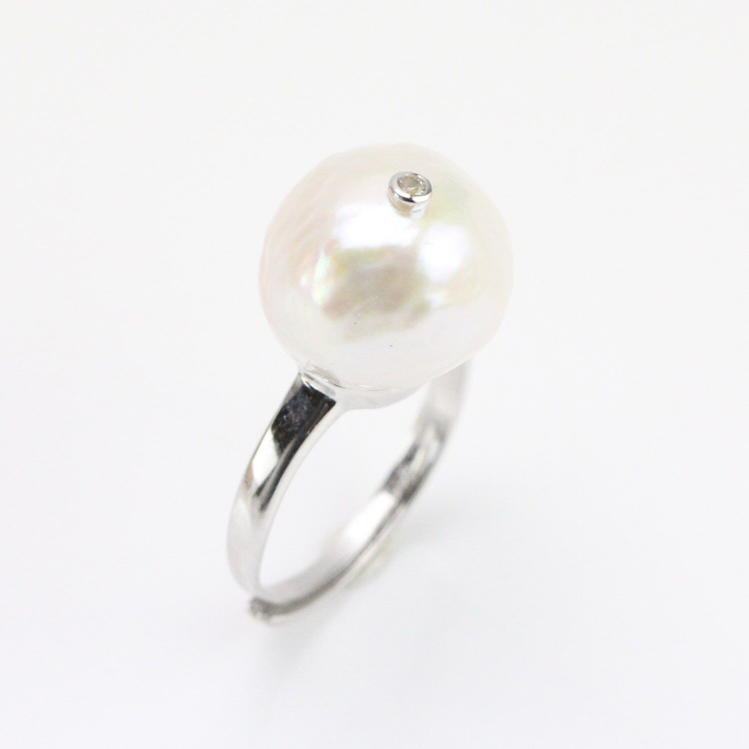 14 15Mm Large Near Round Nucleated Freshwater Baroque Pearl Ring Intended For Most Recently Released Bead & Freshwater Cultured Pearl Open Rings (View 1 of 25)