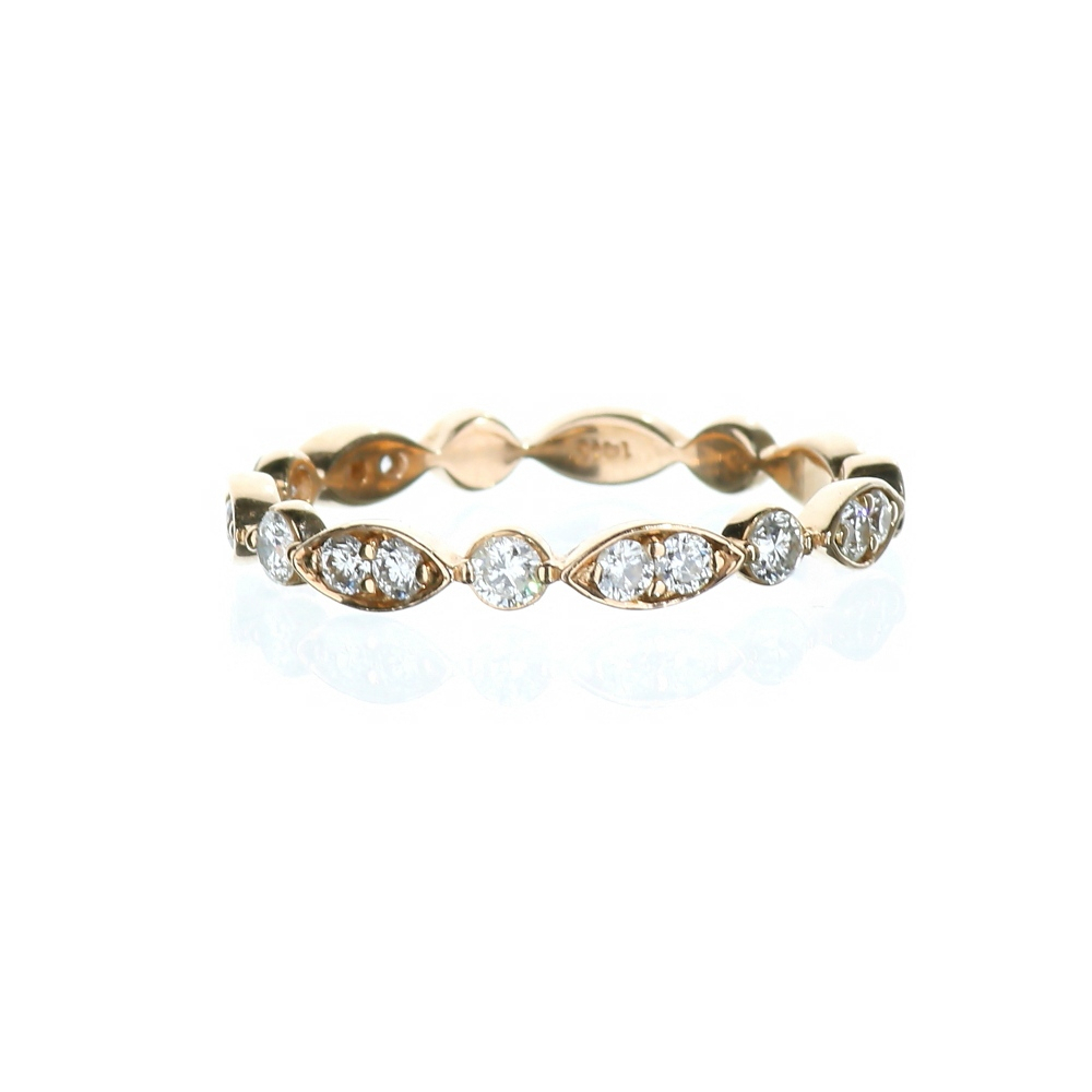14 Karat Rose Gold Ladies Stackable Marquise And Dot Wedding Pertaining To Most Popular Marquise And Round Diamond Alternating Anniversary Bands In Rose Gold (View 3 of 25)