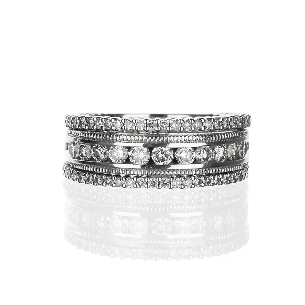 14 Karat White Gold Three Row Diamond And Milgrain Wedding Band With Regard To Most Popular Diamond Three Row Collar Anniversary Bands In White Gold (View 2 of 25)