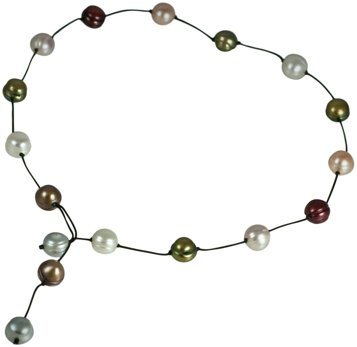 """14 Multi Color Fresh Water Pearls On Brown Satin String """"y"""" Necklace With Toggle Closure With Most Current String Of Beads Y Necklaces (View 10 of 25)"""