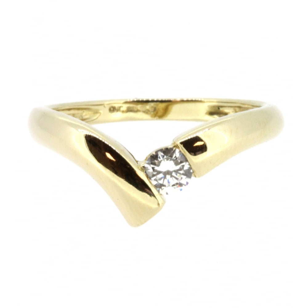 14Ct Yellow Gold Cubic Zirconia Wishbone Ring Throughout Best And Newest Classic Wishbone Rings (View 2 of 25)