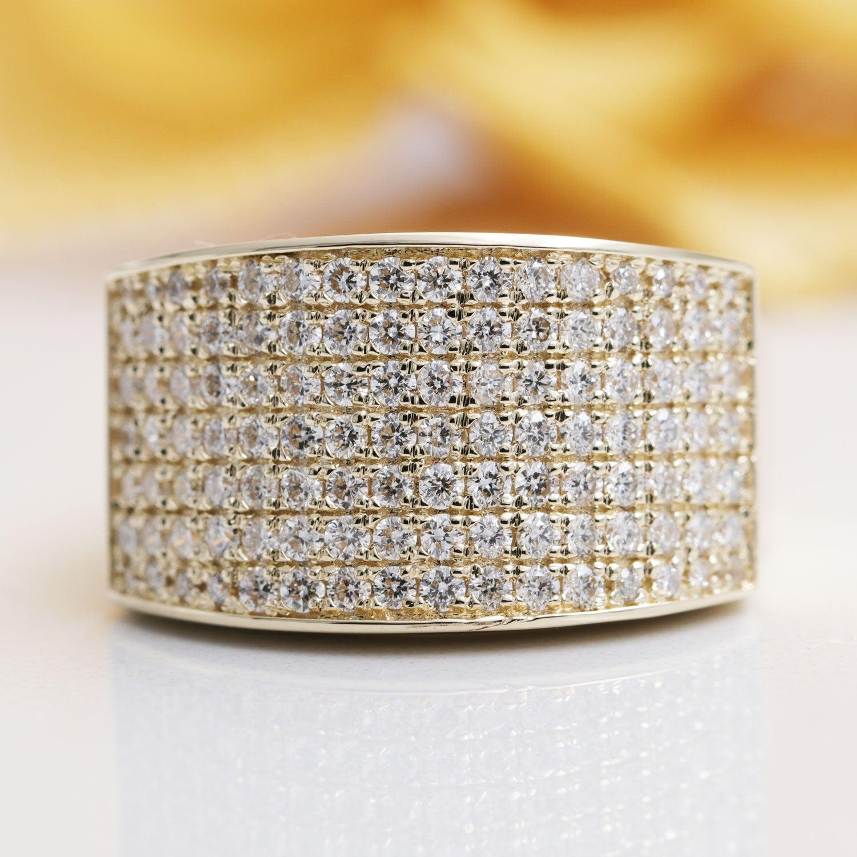 14K Gold 112 Stone 7 Row Diamond Ring/diamond Ring/wedding Band/anniversary  Ring/birthday Ring/diamond Band/7 Row Diamond Band/gift Ring Pertaining To Newest Diamond Seven Row Anniversary Rings In White Gold (View 3 of 25)