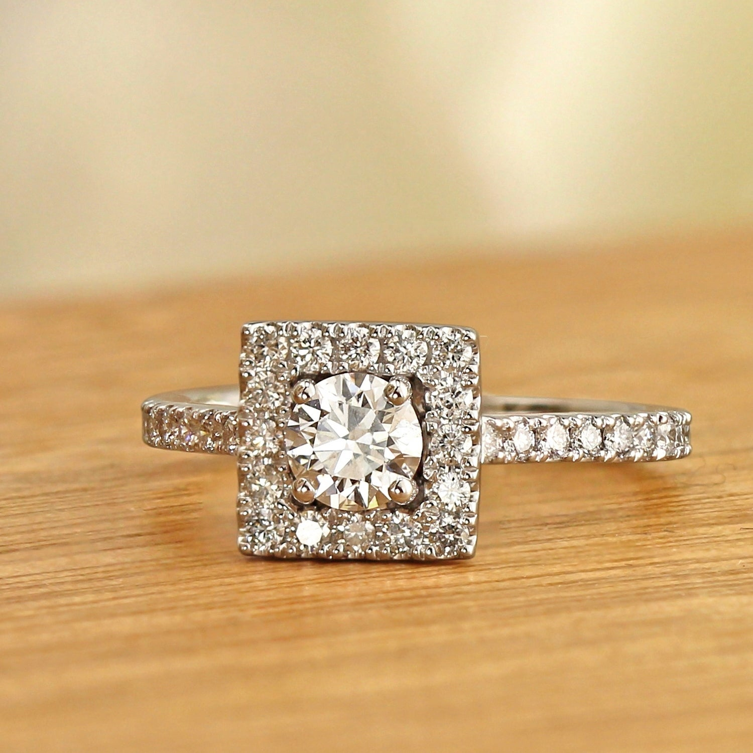14k Gold 1ctw Lab Grown Square Halo Diamond Engagement Ring Ethical Sparkle Regarding 2018 Square Sparkle Halo Rings (View 10 of 25)