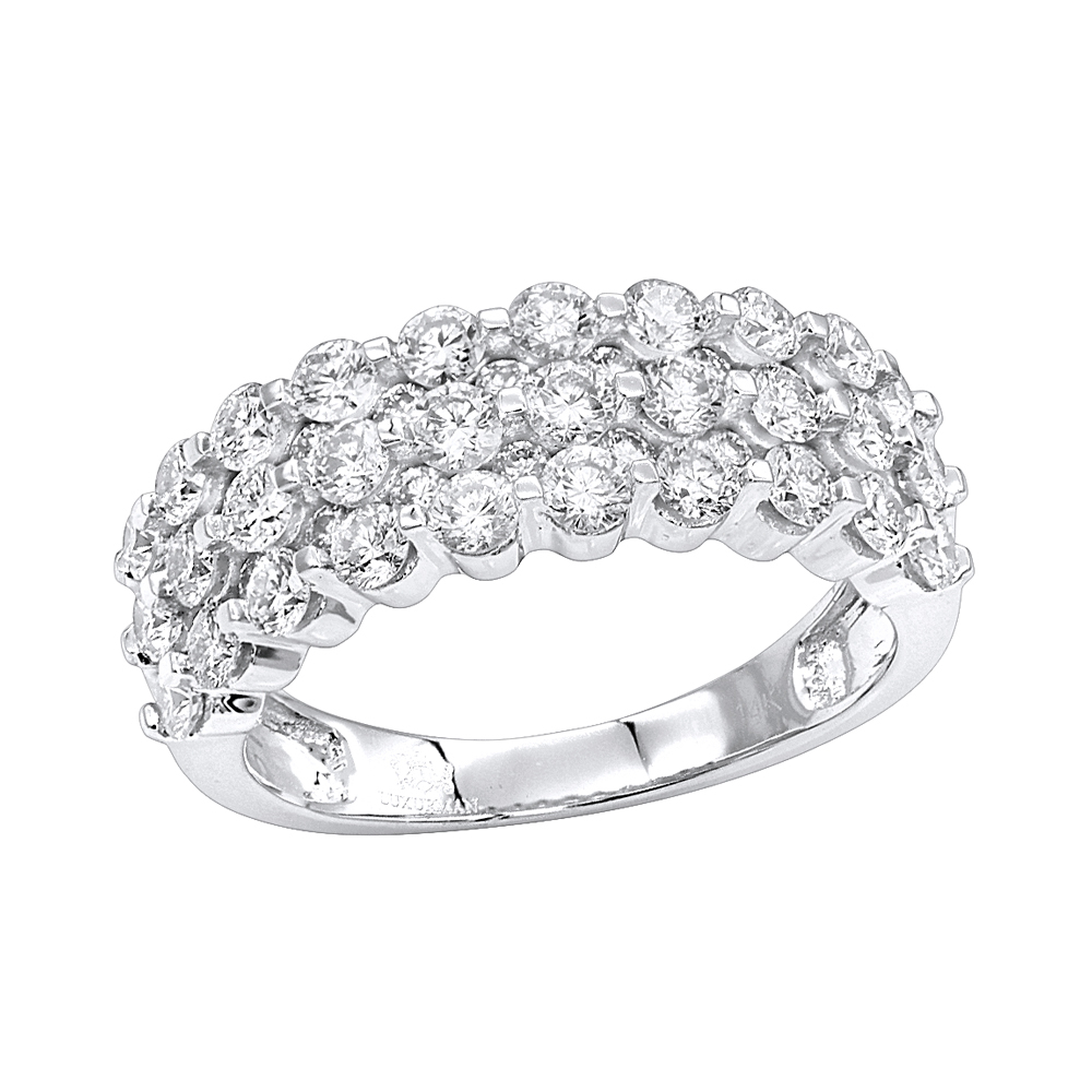 14K Gold 3 Row Diamond Wedding Band For Women Luxurman Anniversary Ring In Most Recent Diamond Three Row Anniversary Rings In White Gold (View 5 of 25)