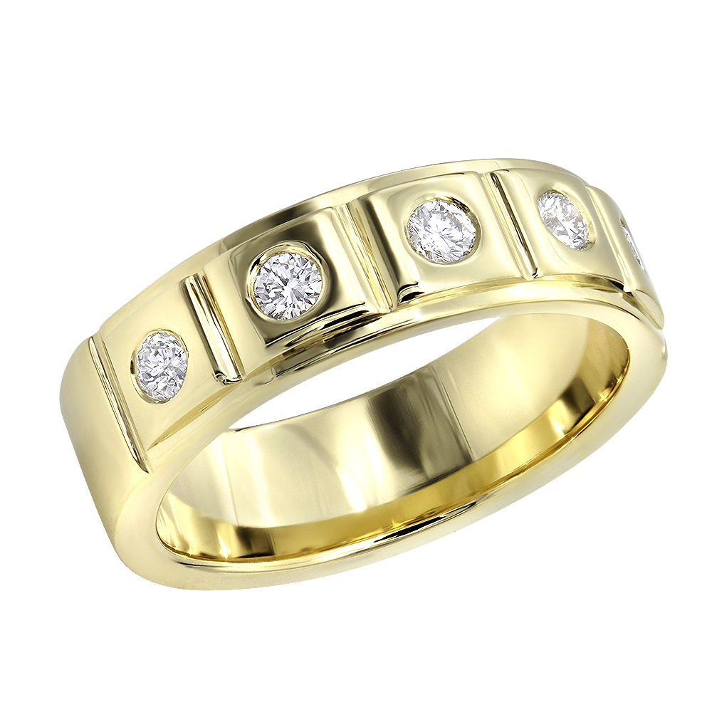 14K Gold 5 Diamond Wedding Band For Men  (View 3 of 25)