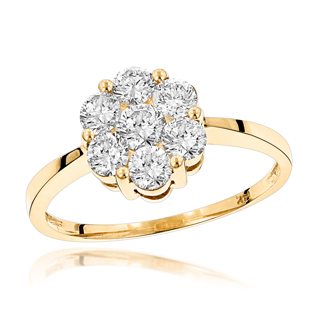 """14K Gold 7 Stone 1 Carat Diamond Cluster Ring For Womenluxurman With 2020 Diamond Seven Stone """"s"""" Anniversary Bands In Sterling Silver (View 2 of 25)"""