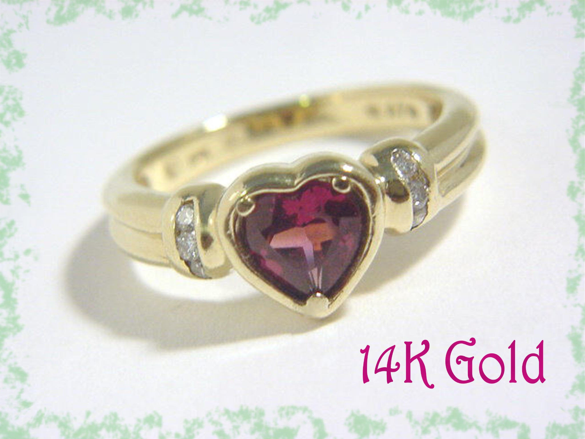 14K Gold Garnet Diamond Heart Ring –  (View 2 of 25)