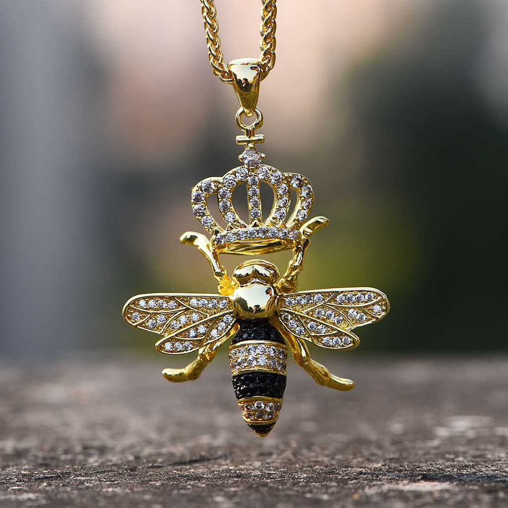 14K Gold Iced Out Queen Bee Necklace – Aporro | Aporro Necklace In Intended For Most Recently Released Bee Locket Element Necklaces (Gallery 22 of 25)