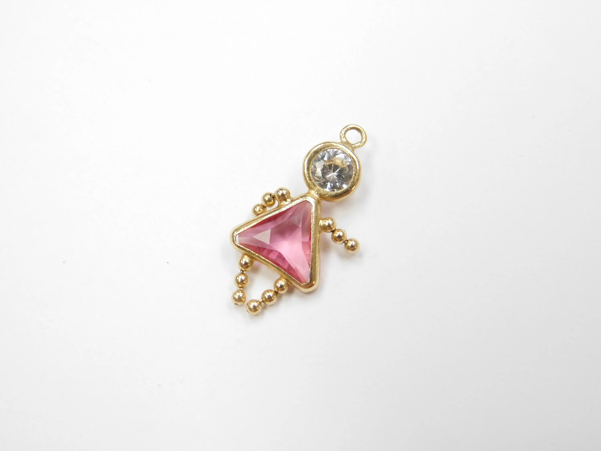 14k Gold October Birthstone Girl Charm ~ Faux Pink Tourmaline, Faux Diamond Pertaining To 2020 Pink October Birthstone Locket Element (View 14 of 25)