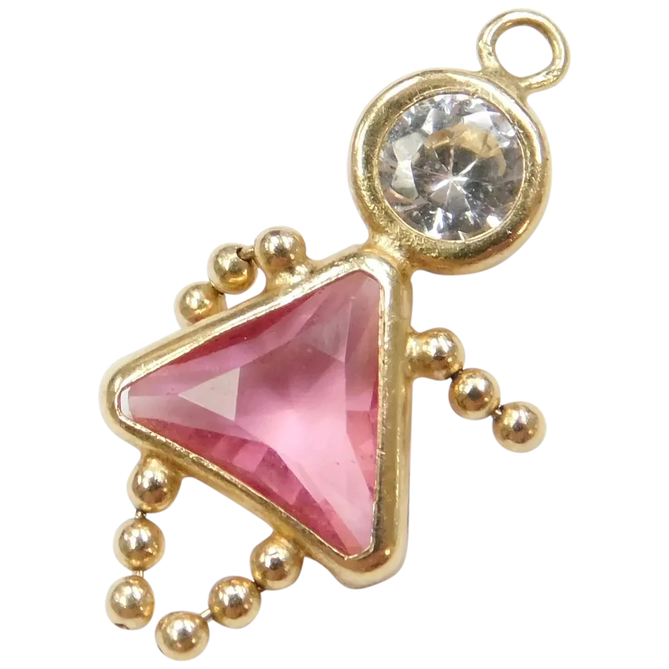 14k Gold October Birthstone Girl Charm ~ Faux Pink Tourmaline, Faux Diamond With Regard To Best And Newest Pink October Birthstone Locket Element (View 11 of 25)