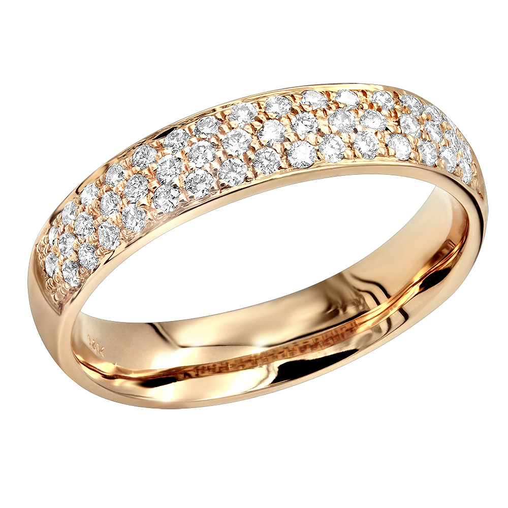 14K Gold Pave Diamond Wedding Band For Women Anniversary Ring Round Diamonds Inside 2020 Diamond Vintage Style Three Row Anniversary Bands In White Gold (View 2 of 25)