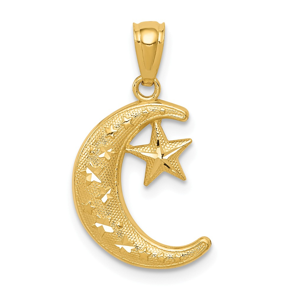 14k Gold Polished & Textured Moon & Stars Pendant | Discount 14k Intended For Most Current Polished Moon & Star Pendant Necklaces (View 4 of 25)