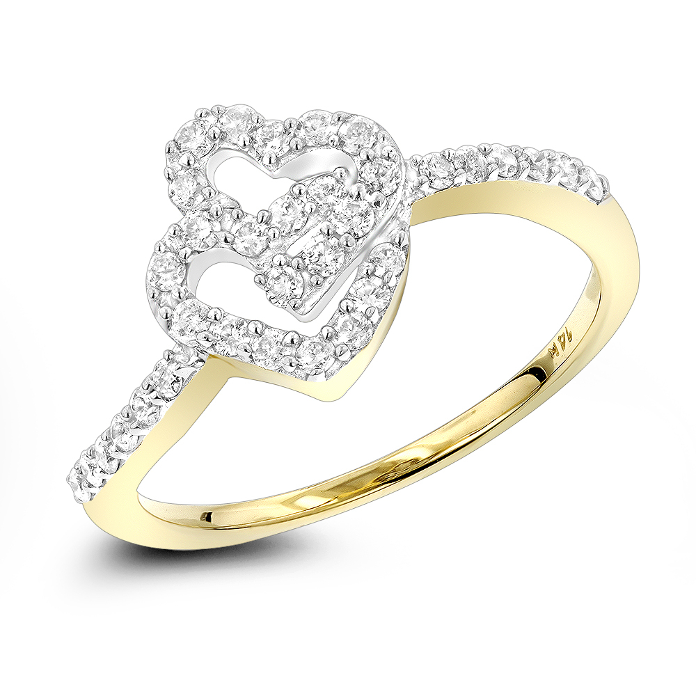 14K Gold Rings Double Heart Diamond Ring  (View 4 of 25)