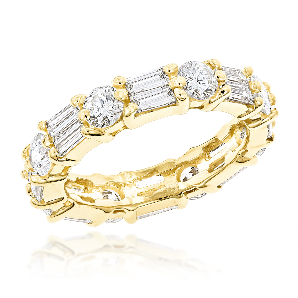 14k Gold Round And Baguette Diamond Eternity Band (View 18 of 25)