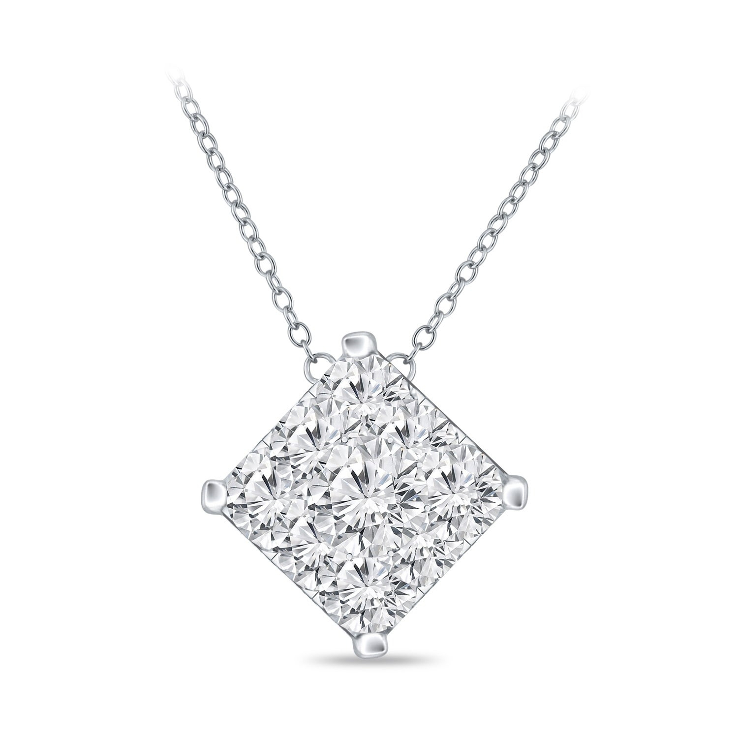 14K Gold Square Shaped 1/2Ct Tdw Pave Diamond Necklaceauriya Regarding 2019 Square Sparkle Halo Necklaces (View 4 of 25)