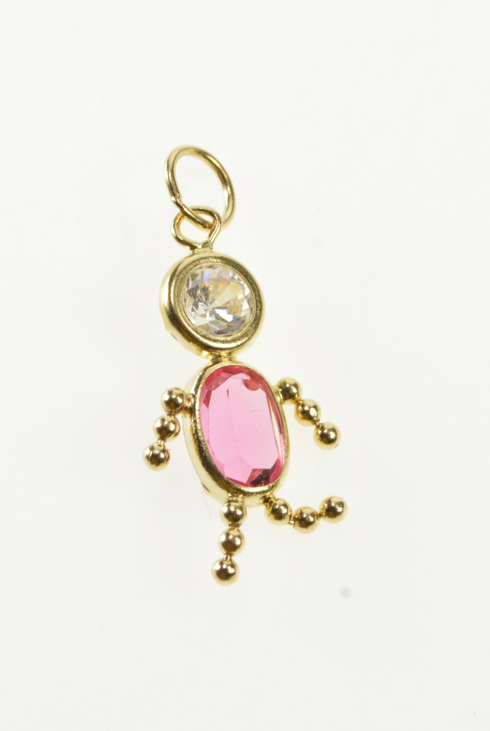 14k Oval Pink October Birthstone Baby Child Yellow Gold Charm Within Newest Pink October Birthstone Locket Element (View 6 of 25)