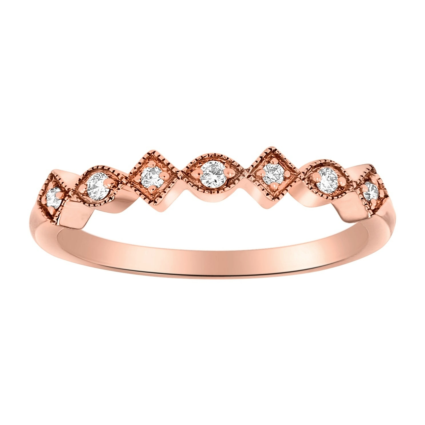 14K Rose Gold 1/10Ct Tdw Diamond Vintage Inspired Anniversary Band Ring –  White H I Pertaining To Most Up To Date Diamond Vintage Style Anniversary Bands In Rose Gold (View 4 of 25)