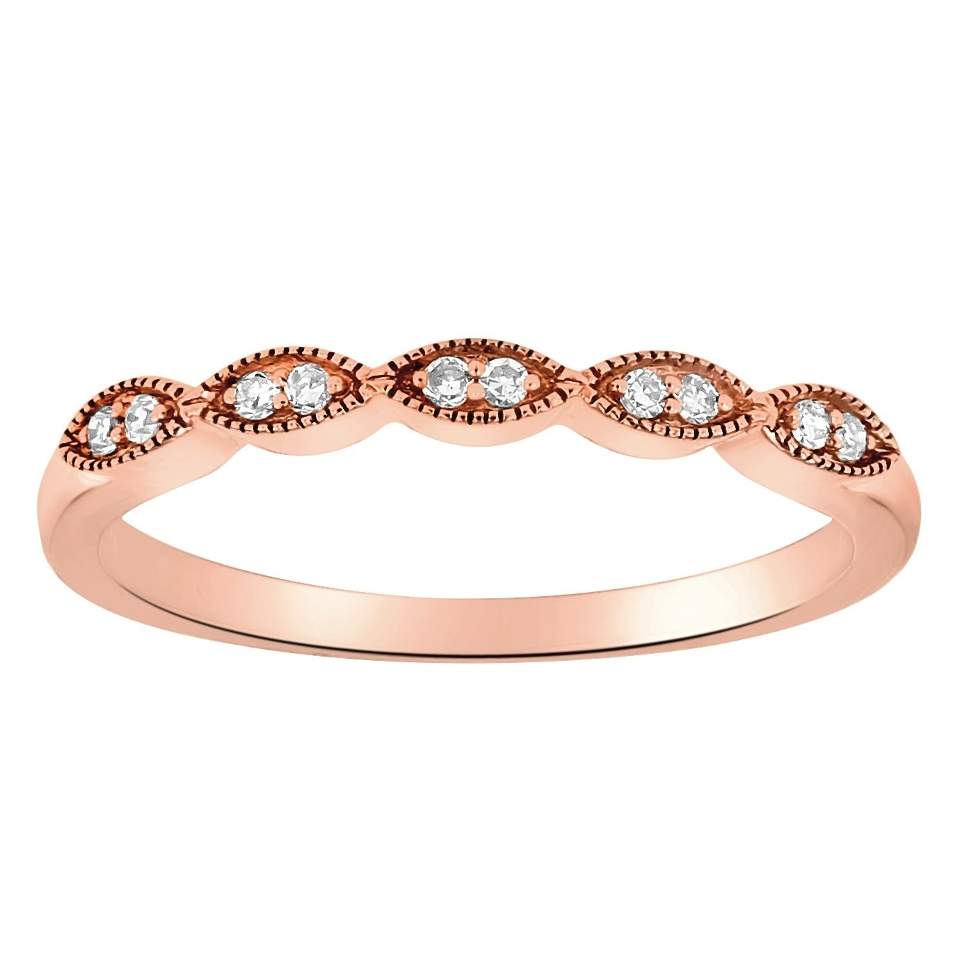 14K Rose Gold 1/14Ct Tdw Diamond Vintage Inspired Anniversary Band Ring –  White H I Intended For Most Popular Diamond Vintage Style Anniversary Bands In Rose Gold (View 5 of 25)