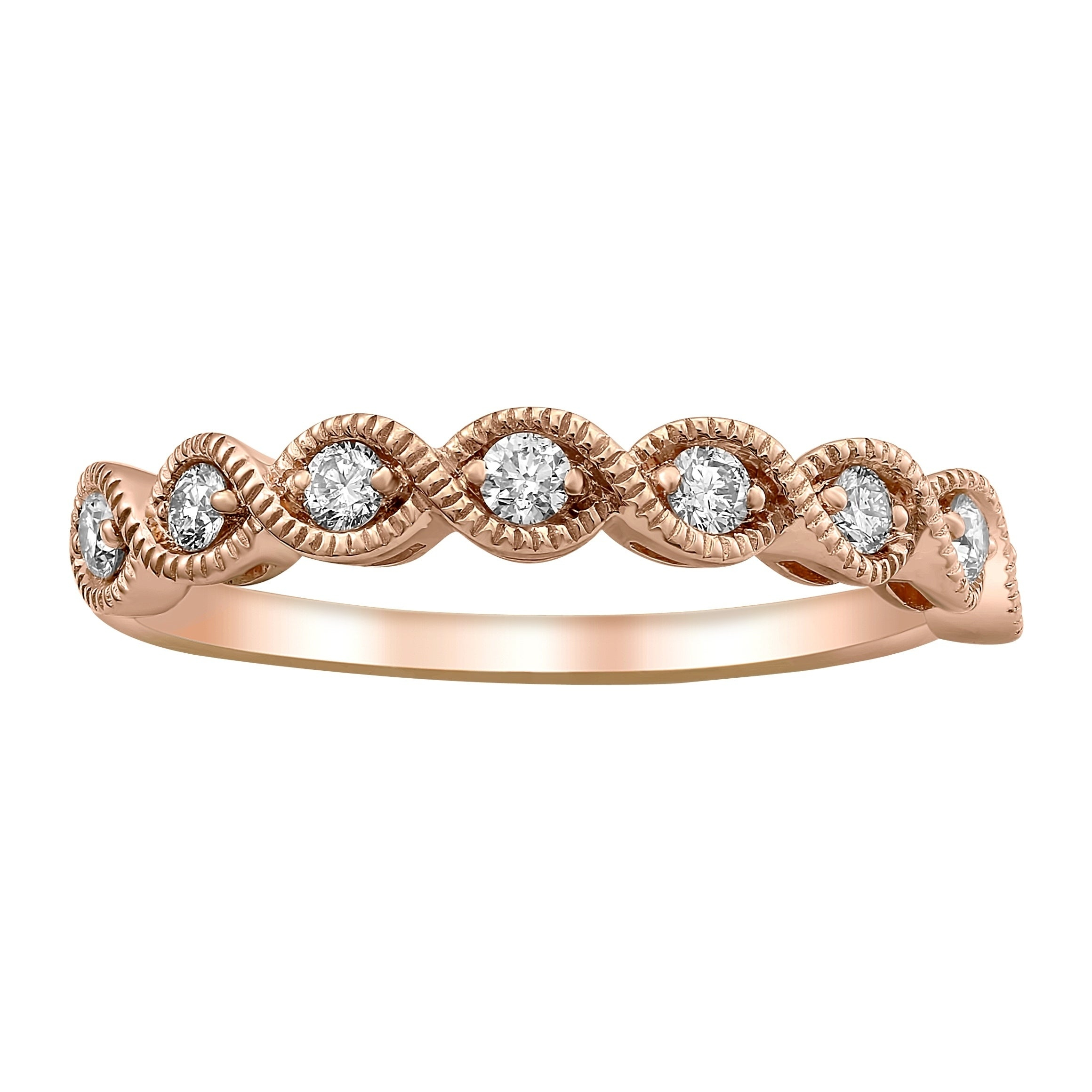 14K Rose Gold 1/4Ct Tdw Diamond Vintage Inspired Anniversary Band Ring –  White H I For Most Current Diamond Vintage Style Anniversary Bands In Rose Gold (View 6 of 25)
