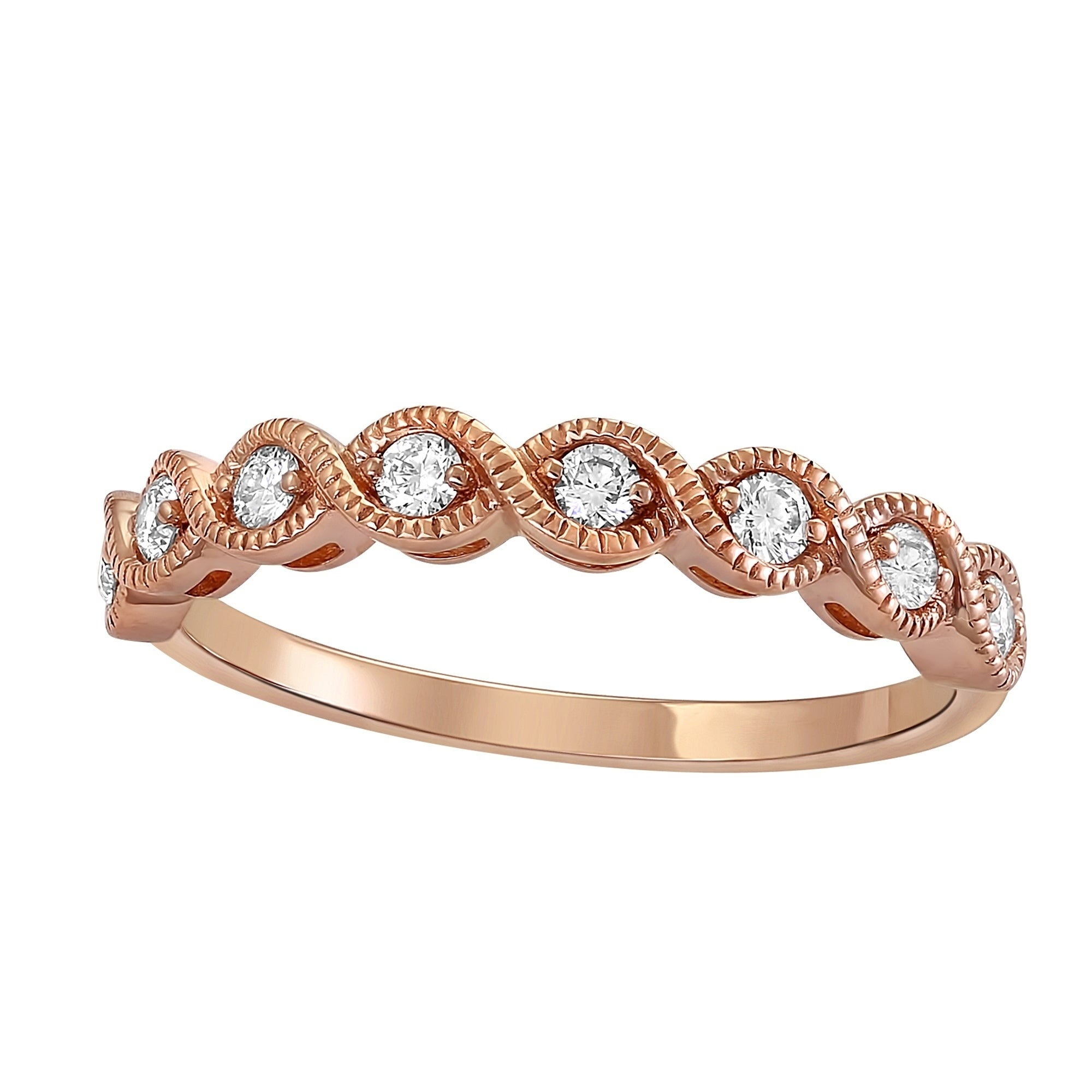 14K Rose Gold 1/4Ct Tdw Diamond Vintage Inspired Anniversary Band Ring –  White H I Within Most Recently Released Diamond Vintage Style Anniversary Bands In Rose Gold (View 7 of 25)