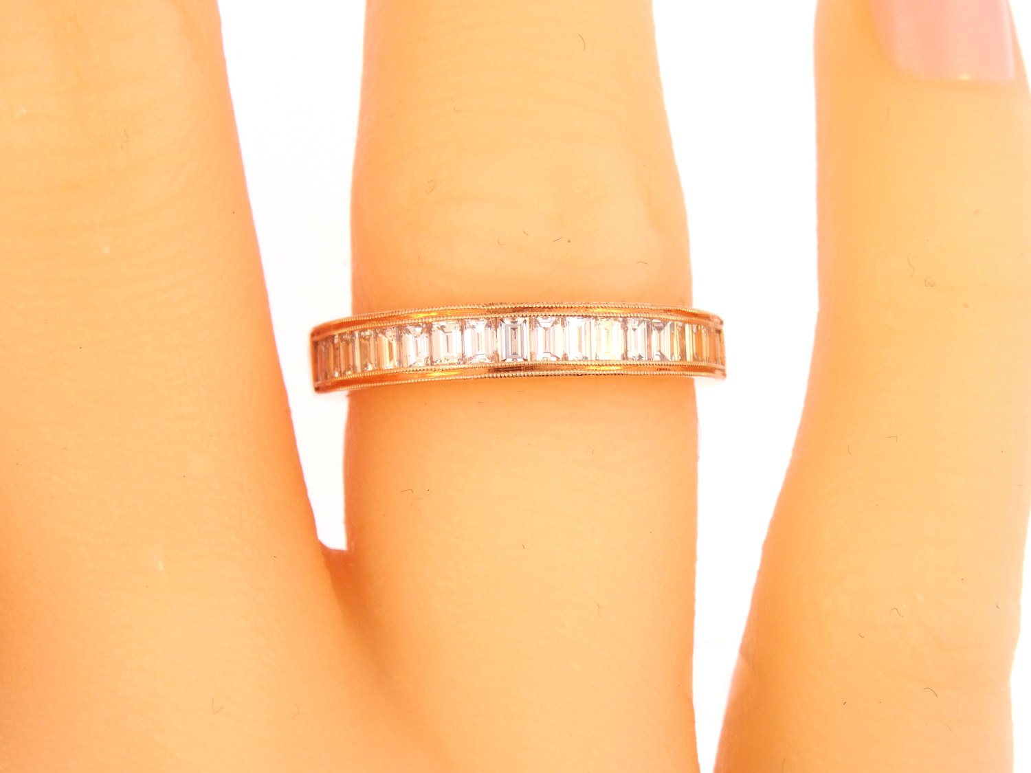 14K Rose Gold Channel Baguette Diamond Band Wedding Within Latest Diamond Channel Anniversary Bands In Rose Gold (View 3 of 25)