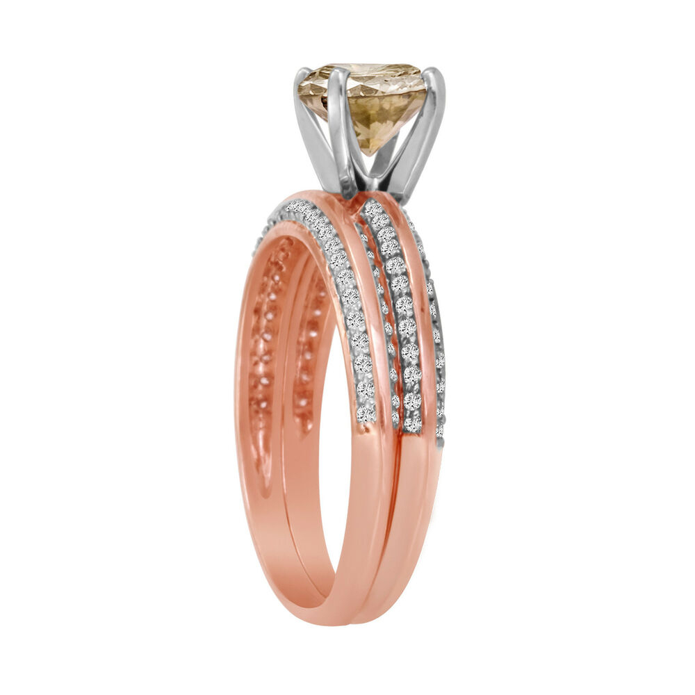 14k Rose Gold Fancy Champagne Diamond Engagement Ring Throughout Current Champagne Diamond Anniversary Bands In Rose Gold (View 15 of 25)