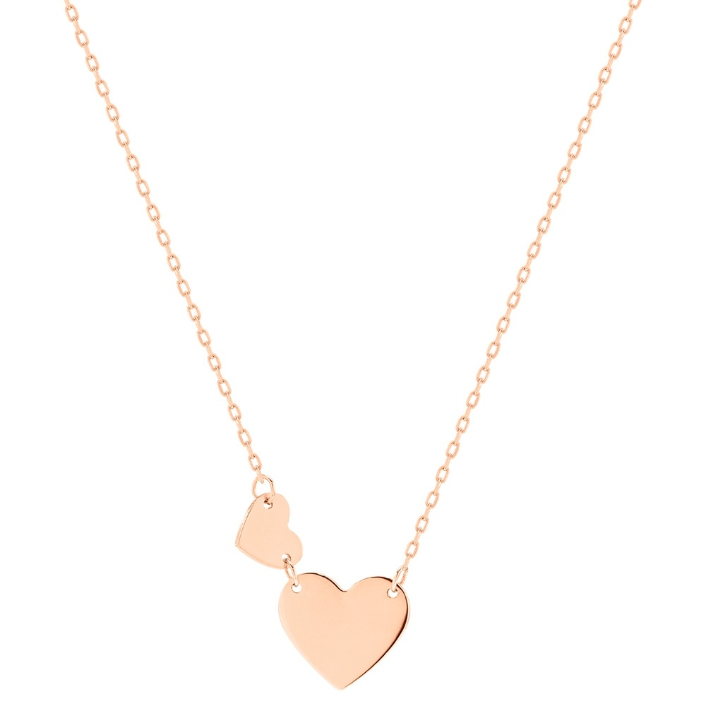 14K Rose Gold Necklace, Hearts (View 1 of 25)