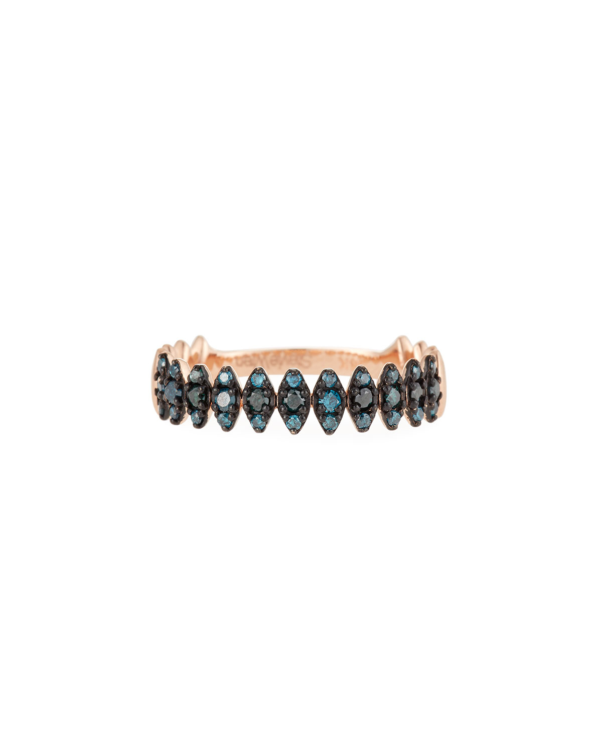 14K Rose Gold Zigzag Blue Diamond Ring, Size 7 Intended For Best And Newest Polished Zigzag Rings (View 1 of 25)