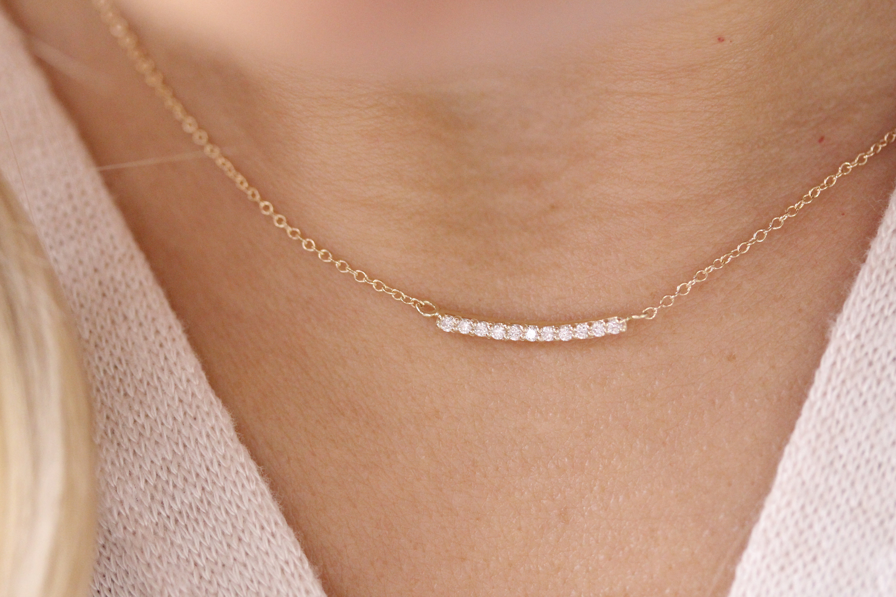 14K Solid Gold Genuine Diamond Bar Necklace Curved Bar Necklace Minimalist Necklace Regarding 2020 Sparkling Curved Bar Necklaces (View 19 of 25)