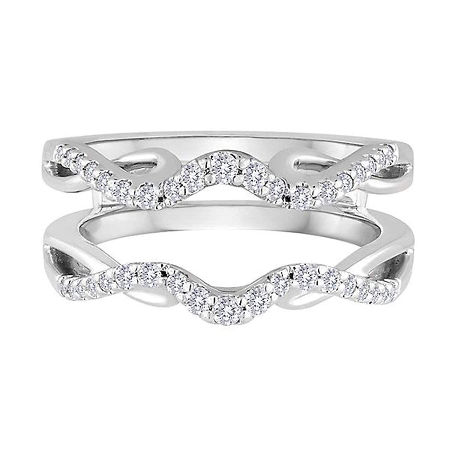 14K Solid White Gold Plated 1/3Ct Round Simulated Diamond Regarding 2020 Diamond Double Row Contour Tiara Anniversary Bands In White Gold (View 1 of 25)