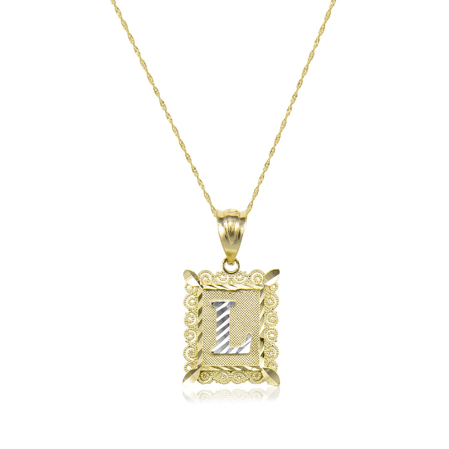 14K Solid Yellow White Gold Initial Letter Plate Necklace Pendant In Current Letter H Alphabet Locket Element Necklaces (View 1 of 25)