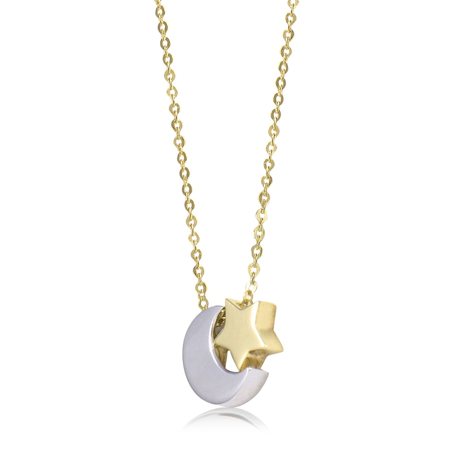 14k Solid Yellow White Gold Moon Star Necklace Pendant Rolo Chain Within Current Polished Moon & Star Pendant Necklaces (View 18 of 25)