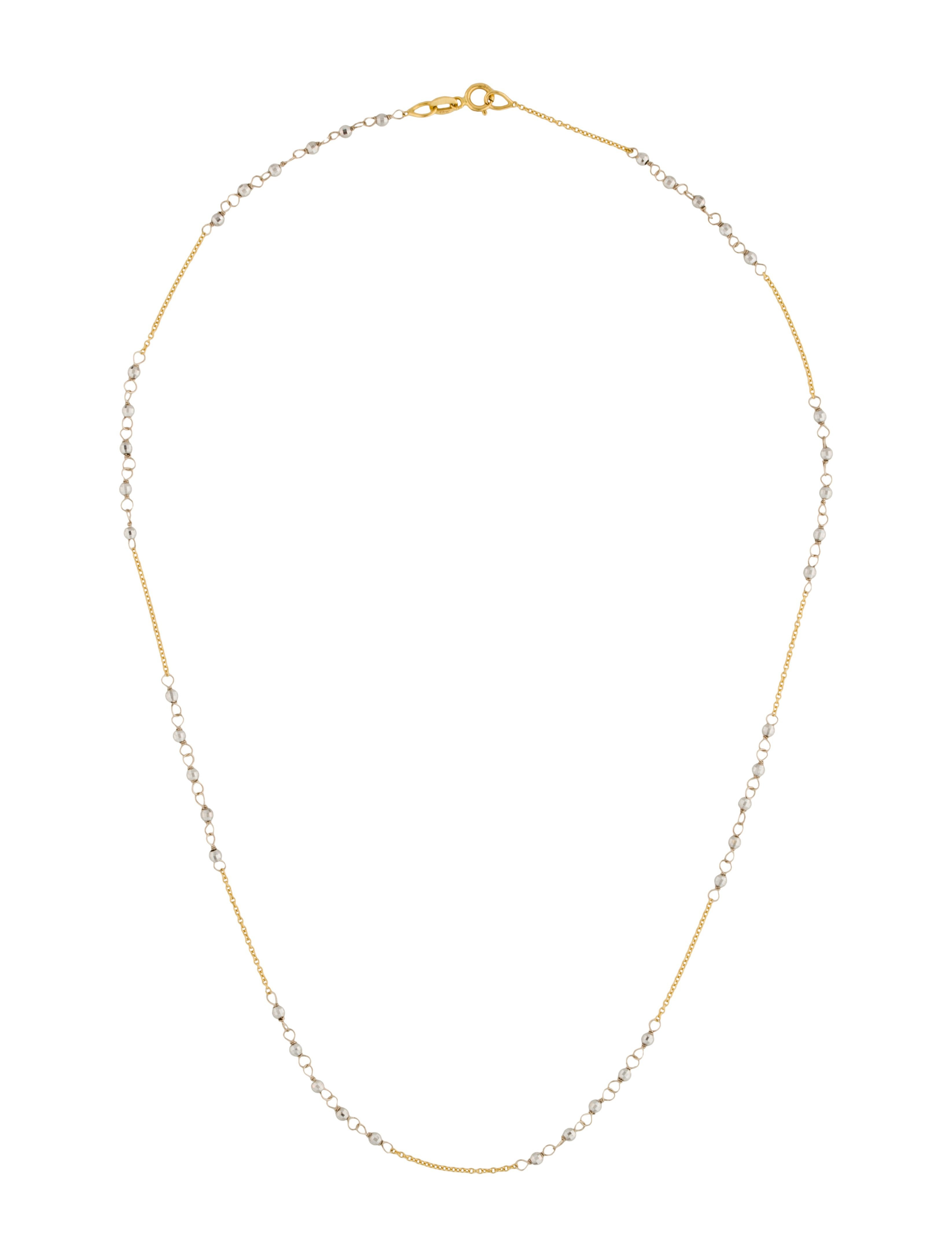 14k Two Tone Beaded Chain Throughout Most Up To Date Beaded Chain Necklaces (View 11 of 25)