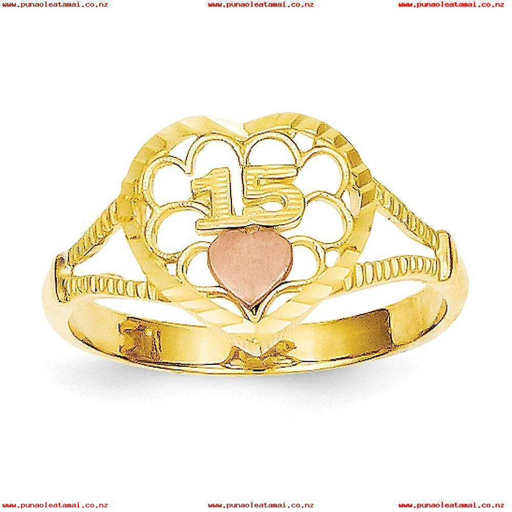 14K Two Tone Solid Polished Open Face Gold Sparkle Cut 15 Heart Ring In 2017 Polished & Sparkling Hearts Open Rings (View 5 of 25)