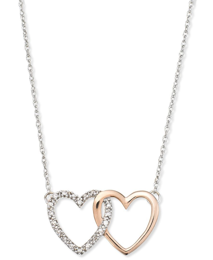 14K White And Rose Gold Necklace, Diamond Accent Double Heart Within Most Recent Interlocked Hearts Collier Necklaces (View 1 of 25)