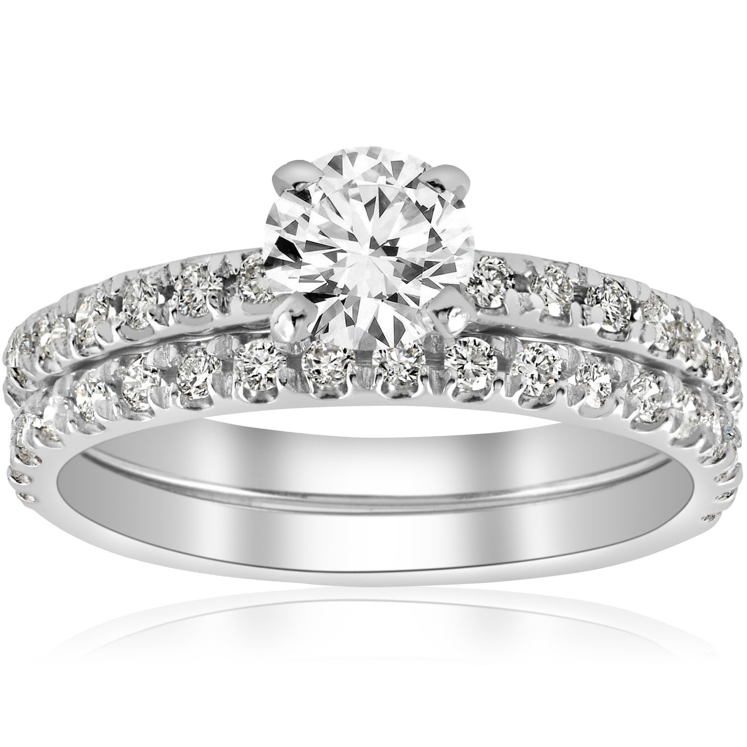 14k White Gold 1 1/4 Ct Tdw Diamond Engagement Ring Wedding Set French Pave Single Row (i J,i2 I3) Pertaining To 2019 Diamond Three Row Tiered Anniversary Bands In White Gold (View 15 of 25)