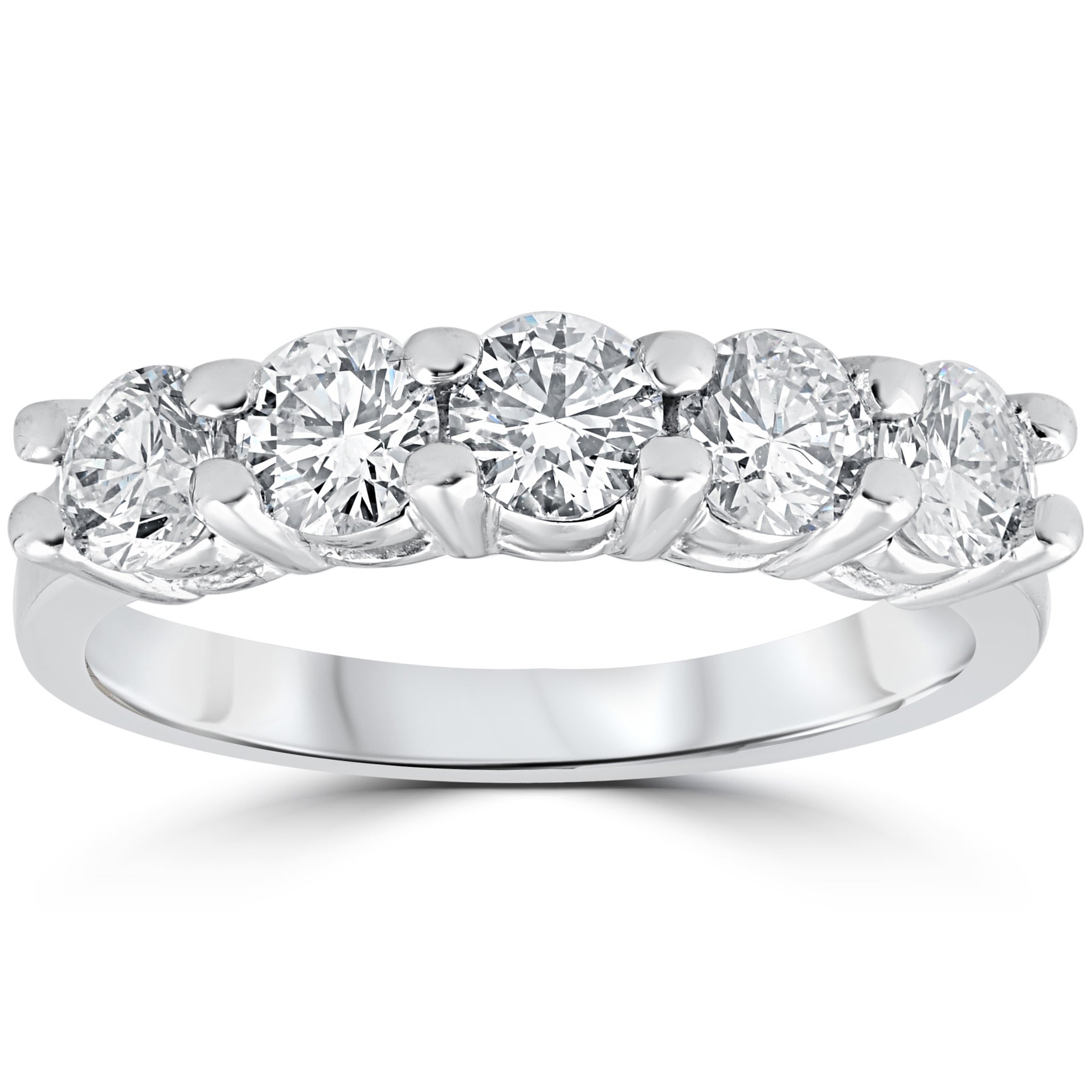 14K White Gold 1 1/5 Ct Five Stone Diamond Wedding Womens Anniversary Ring  (G H, Vs1 Vs2) – White G H Inside Most Popular Diamond Five Stone Triple Row Anniversary Bands In White Gold (View 7 of 25)